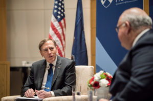 Mario Guillen leads a discussion with David H. Petraeus